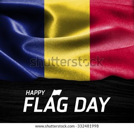 Happy Flag Day Typography Romania flag on wood Texture background - stock photo