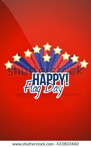 happy flag day us stars background illustration design graphic