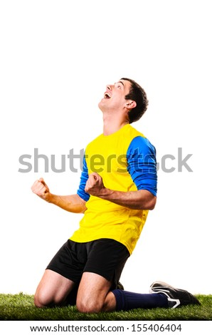 happy football or soccer player isolated on white background - stock photo