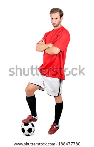 Happy football player isolated in white - stock photo