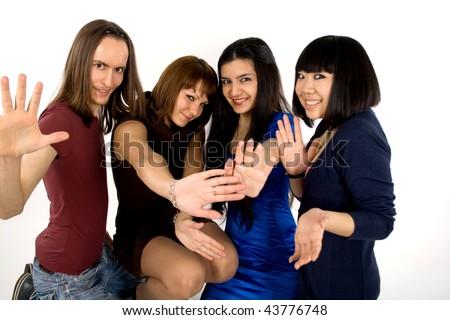 Happy four friends studio shot - stock photo