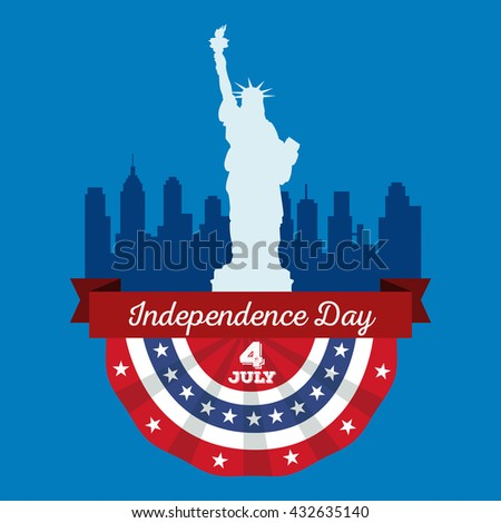 Happy fourth of july, Independence Day Design illustration city skyline and The Statue of Liberty - stock photo