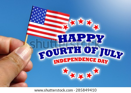 happy fourth of july - independence day usa card with flag in blue sky background