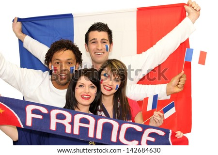 Happy French football supporters - stock photo