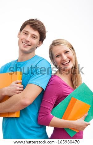 Happy fresh students of university holding a files - stock photo