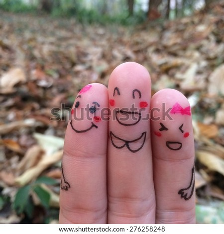 happy friend fingers - stock photo