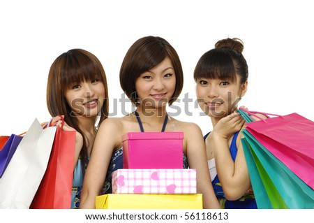 Happy friend shopping - stock photo