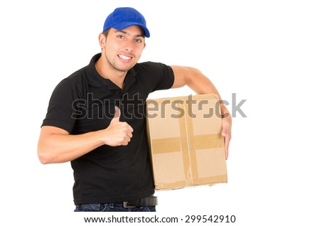happy friendly confident courier man with blue cap carrying package holding thumb up isolated on white - stock photo