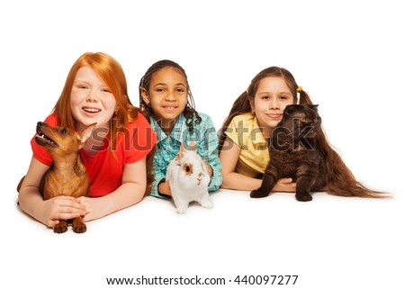 Happy friends and their pets