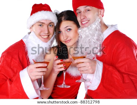Happy friends celebrate xmas - stock photo