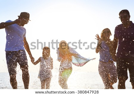 Happy friends celebration beach party summer. Holiday and vacation concept - stock photo