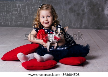 Happy friends child girl and dog - stock photo