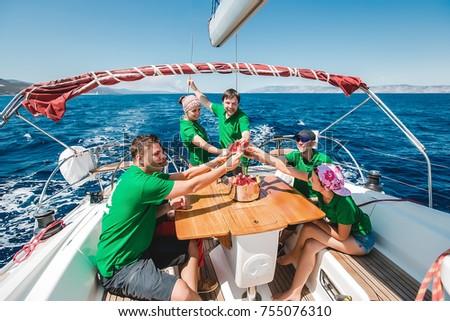 Happy Friends Eat Watermelon On Yachtfriends Restingcouples