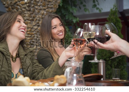 Happy friends holding wineglasses and toasting with wine during a lunch in the restaurant. - stock photo