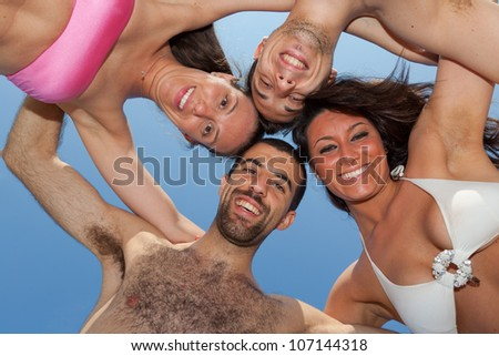 Happy Friends in Circle, Bottom View - stock photo
