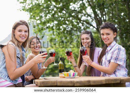 Happy friends in the park having wine on a sunny day - stock photo