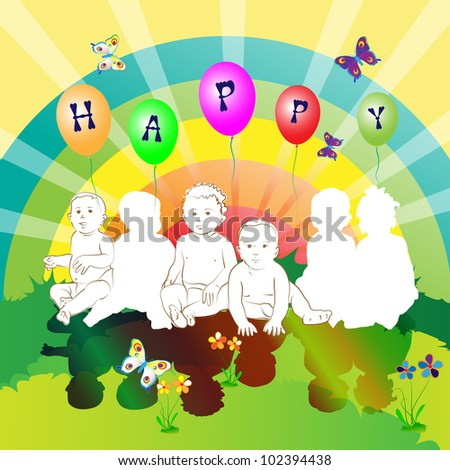 Happy friends kids - stock photo