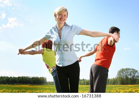 happy friends outdoors - stock photo