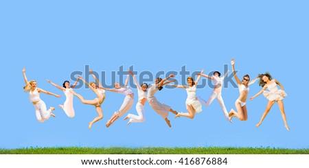 Happy Friends Symbolic Illustration  - stock photo