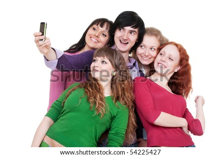 happy friends taking picture on phone. isolated on white background - stock photo