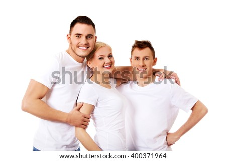 Happy friends together- one woman and two men - stock photo