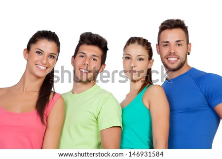 Happy friends with colored sportswear isolated on white background