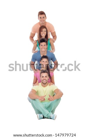 Happy friends with colorful clothes isolated on white background - stock photo
