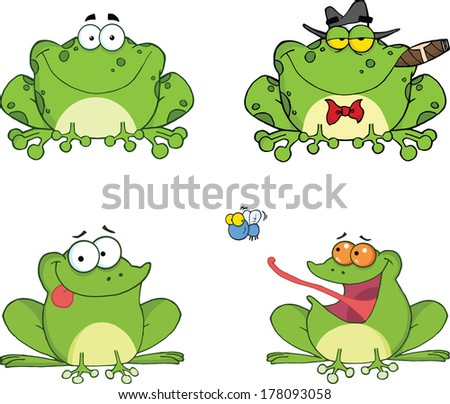 Happy Frogs Cartoon Characters 2. Set Raster Collection - stock photo