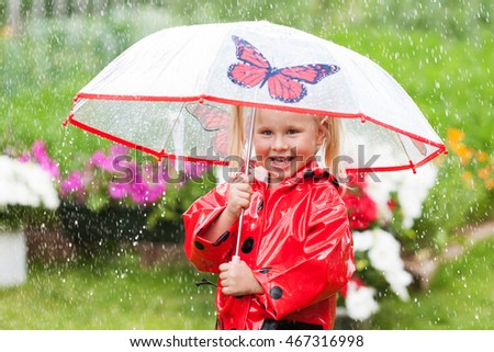 Happy fun pretty little girl in red raincoat with umbrella walking in park summer, ladybug costume, portrait, rain, outdoor