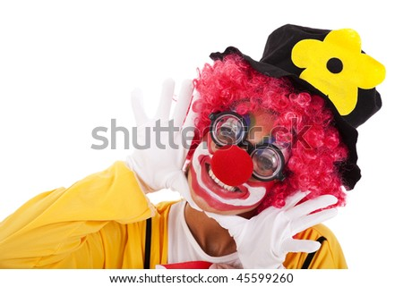 happy funny clown smiling (isolated on white) - stock photo