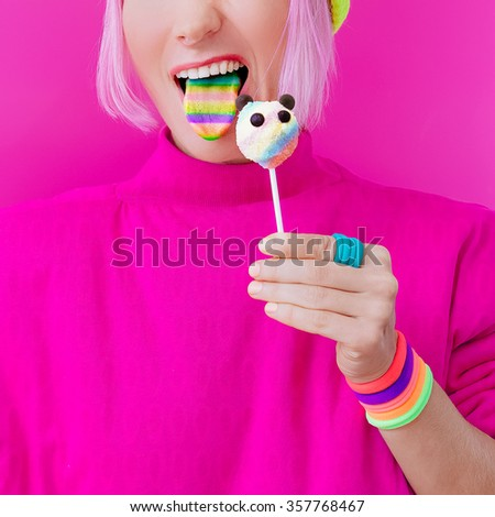 Happy Funny Girl. Love Sweets. Panda Candy and Rainbow