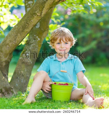 Happy funny kid boy eating raspberries in home's garden, outdoors. Sitting on ground with big buckets with berries. Healthy snack for children. - stock photo