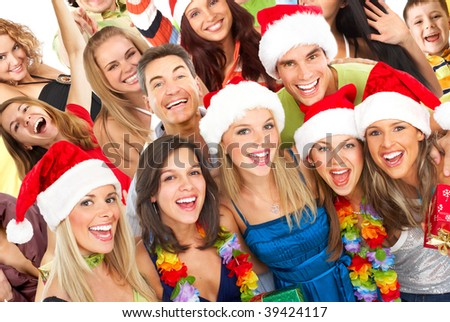 Happy funny people. Christmas party - stock photo