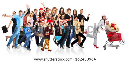 Happy funny people. Isolated over white background. - stock photo