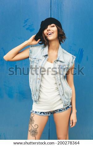 Happy funny teenage girl having fun. Lifestyle portrait - stock photo