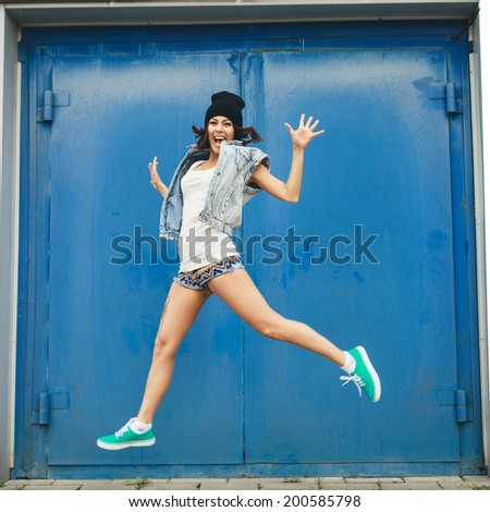 Happy funny teenage girl having fun. Lifestyle portrait - stock photo