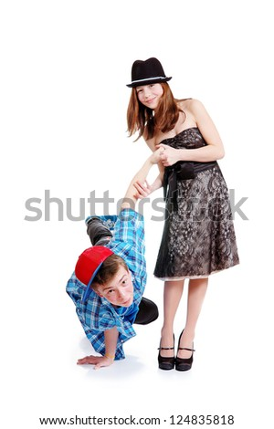Happy funny  teenagers. Teenager  boy is on hand. Isolated over white background - stock photo