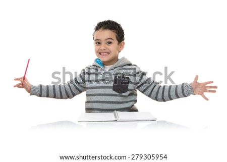 Happy Funny Young Schoolboy Studying Isolated on White Background - stock photo