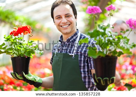 Happy gardener in a greenhouse holding two vases of flowers - stock photo