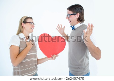 Happy geeky hipster and her boyfriend on white background - stock photo