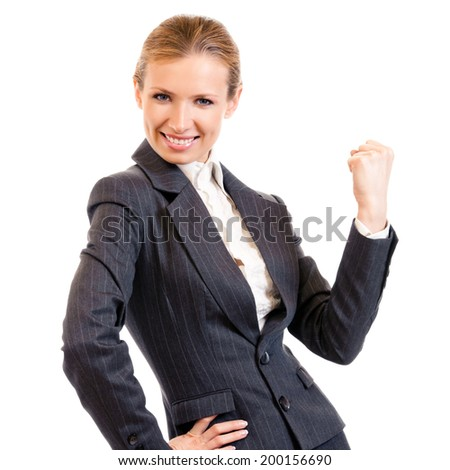 Happy gesturing young cheerful smiling business woman , isolated on white background - stock photo