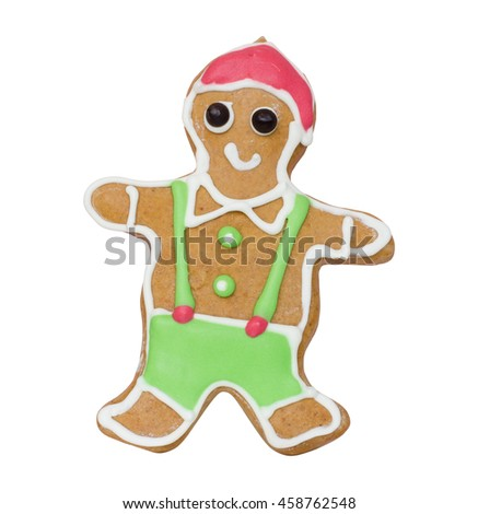 Happy gingerbread man decorated with red, green and white color icing isolated on white background  for cooking, christmas party, new year's day, new year's eve, silvester, winter holiday and etc.