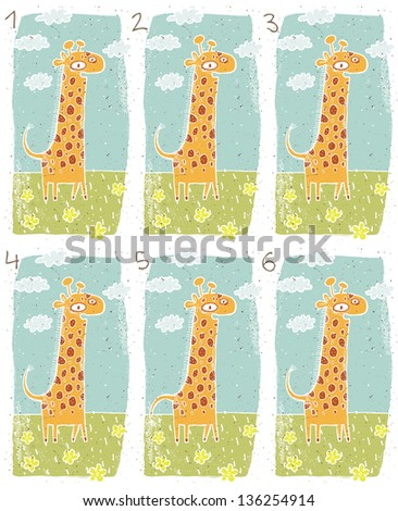 Happy Giraffe Visual Game for children. Task: Find two identical images (match the pair)! Answer: No. 3 and 4. (for vector see image 114653248) - stock photo