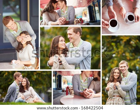 Happy girl and her boyfriend spending time together - stock photo