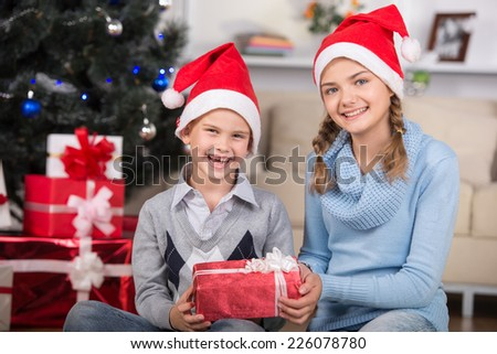 Happy girl and her brother  in Santa hat  with a gift in hands and on background of christmas trees. - stock photo