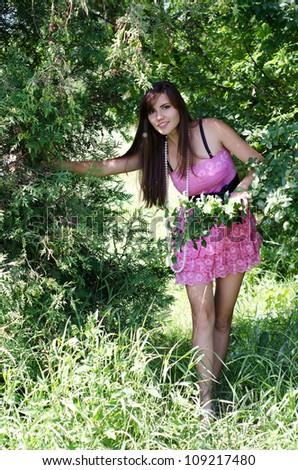 happy girl at green grass at park - stock photo