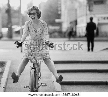 happy girl bike summer - stock photo
