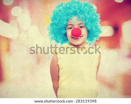 happy girl clown - stock photo
