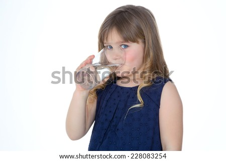 happy girl drinks some fresh water - stock photo
