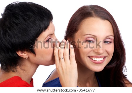 Happy girl friends talking and laughing - stock photo